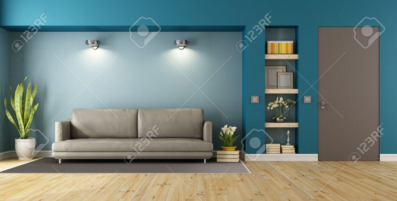 Blau Und Braun Modernes Wohnzimmer Mit Sofa, Nische Und Geschlossene Tür    3D Rendering