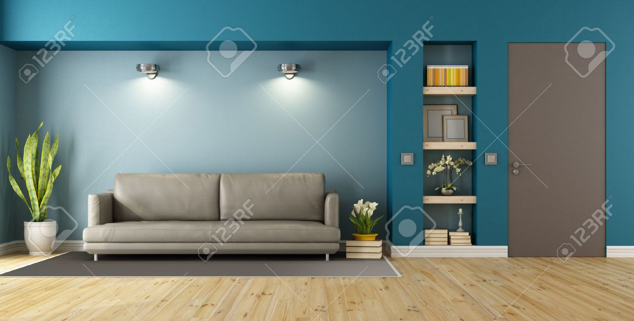 Blue and brown modern livingroom with sofa, niche and closed door - 3D Rendering Standard-Bild - 51862806