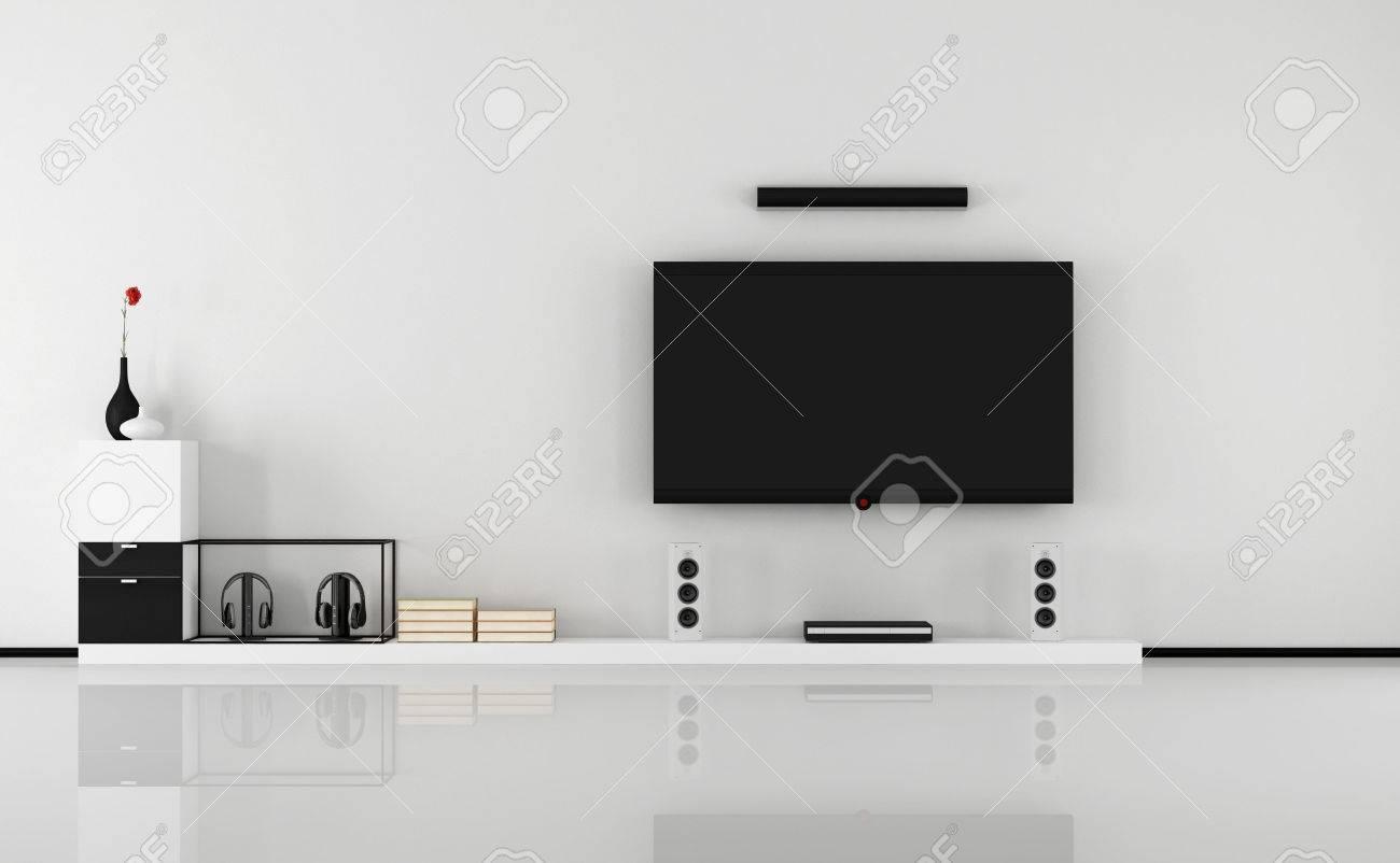 Minimalist Schwarz Weiß Wohnzimmer Mit TV Set 3D Rendering Standard Bild