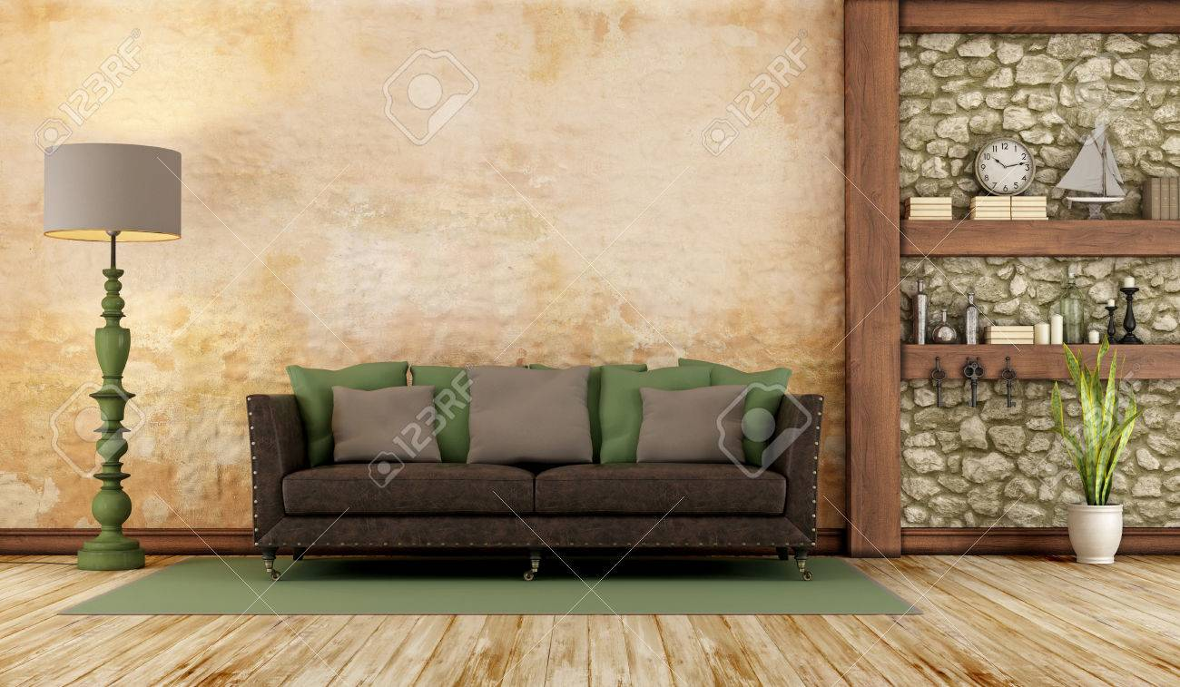 Retro living room with classic sofa , stone wall and wooden shelf - 3D Rendering - 52154369