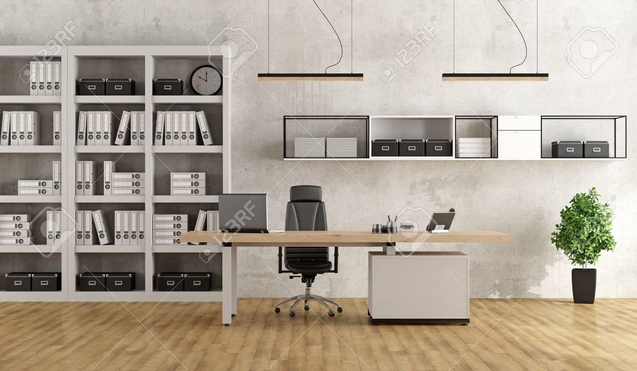 Bureau moderne en noir et blanc avec bureau et bibliothèque