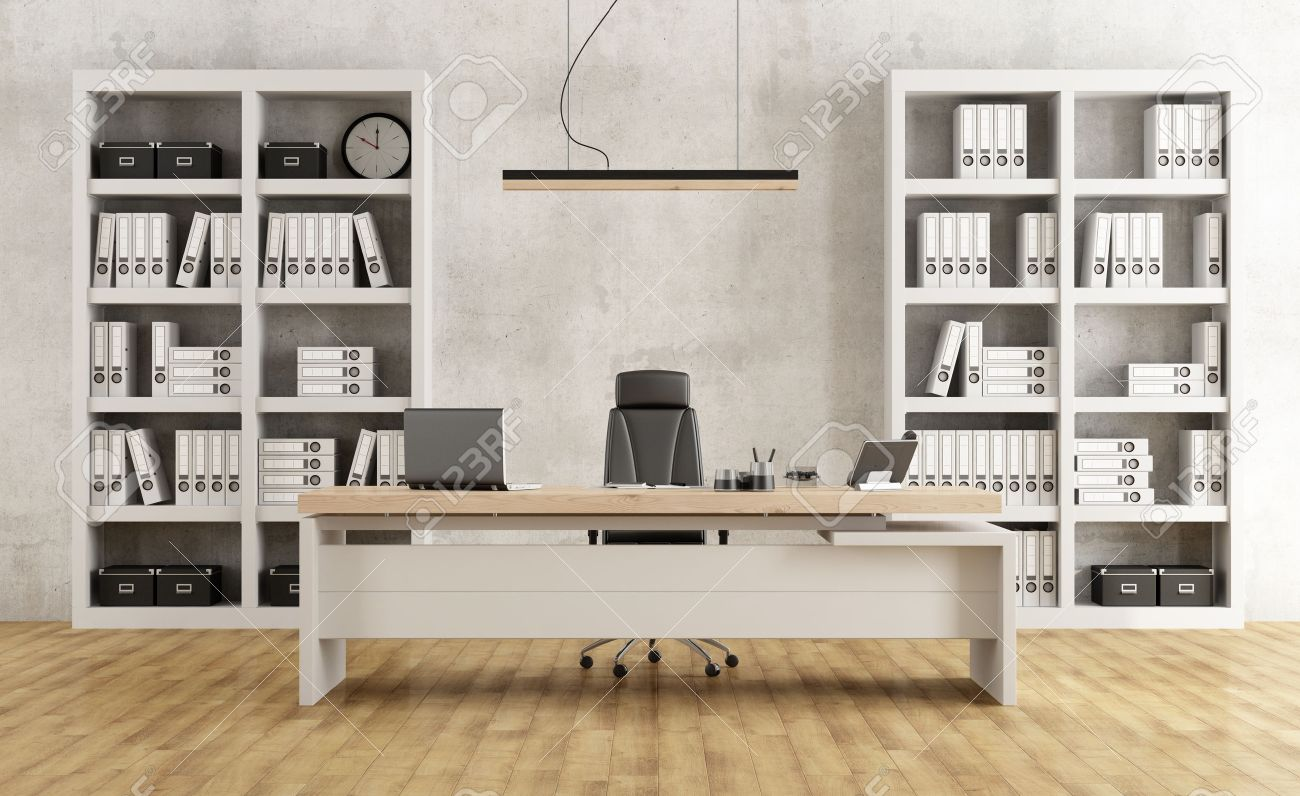 Black and white minimalist office with desk and bookcase - 3D Rendering Standard-Bild - 52672308
