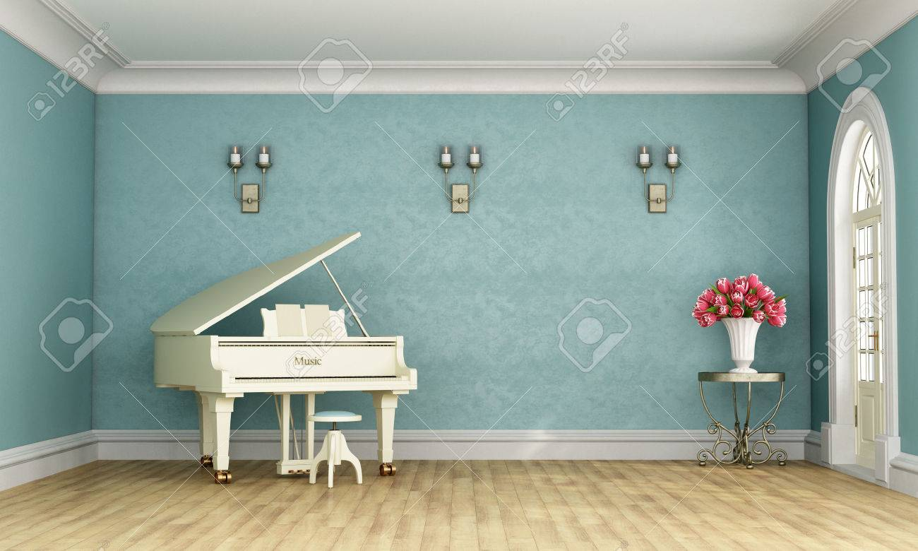 Music room in classic style with blue wall and white grand piano - 3D Rendering Standard-Bild - 52672309