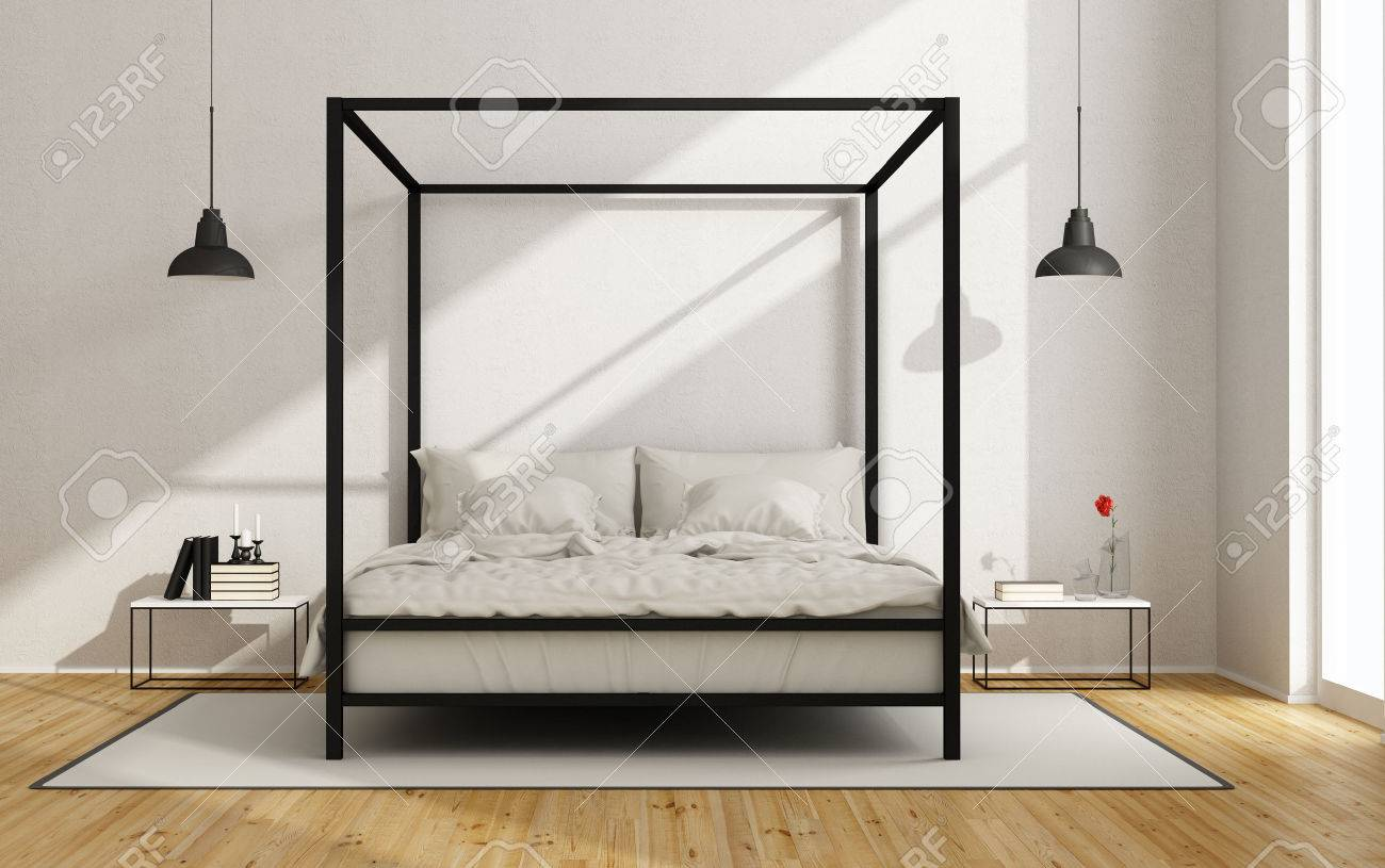 Weißes Schlafzimmer Mit Himmelbett Im Minimalistischen Stil - 3D ...