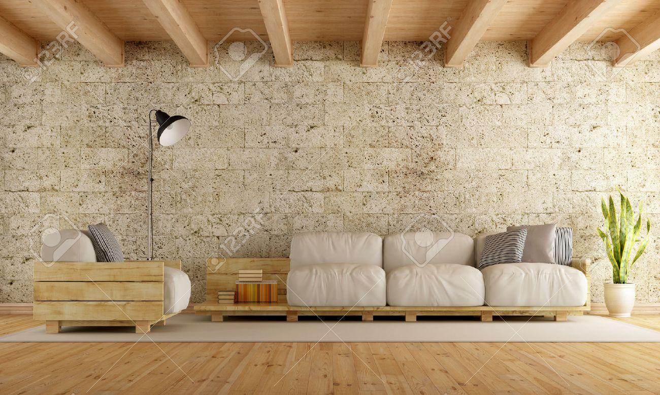 salon moderne avec canapé palette, mur de pierre et plafond en bois