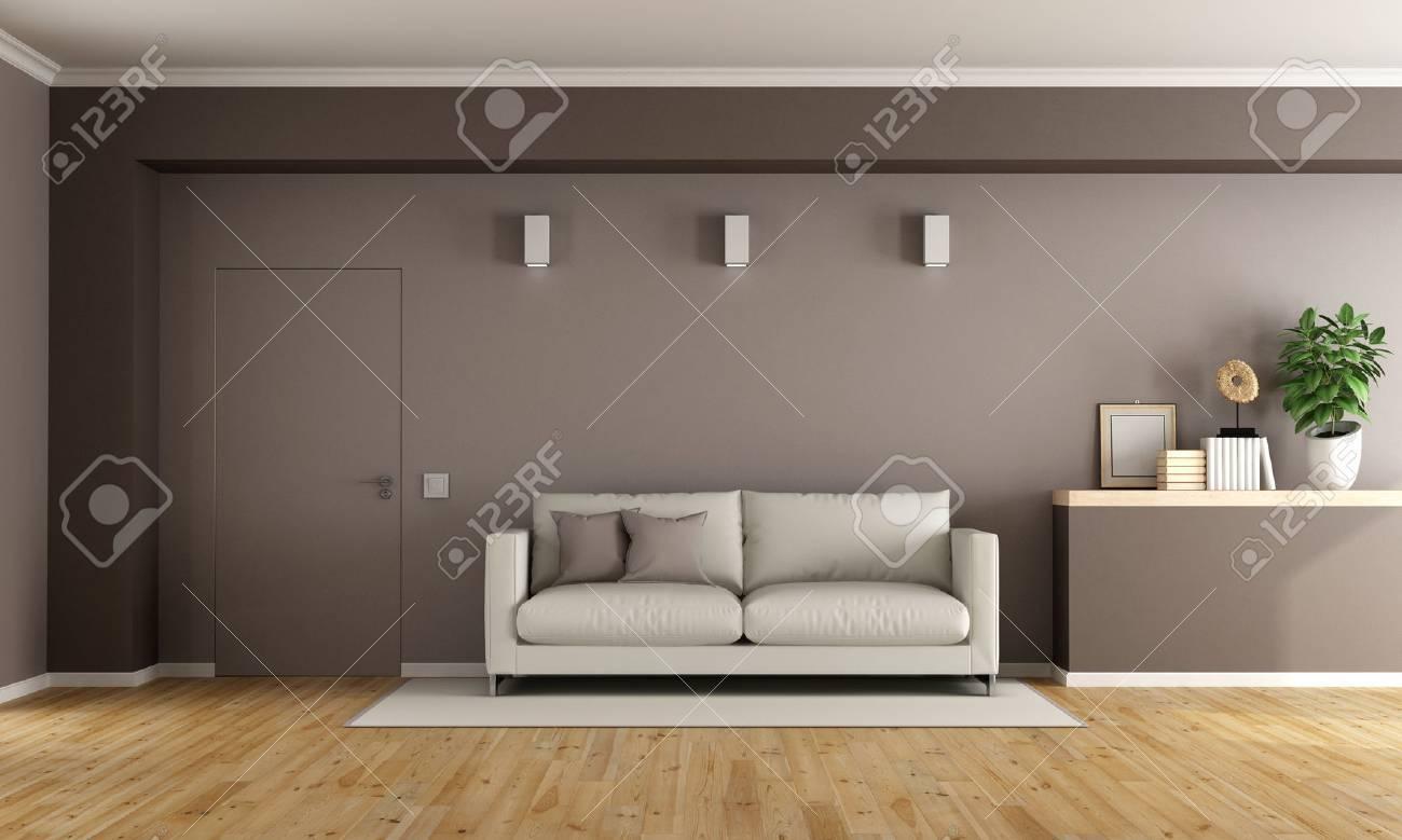 Brown Moderne Wohnzimmer Mit Weissen Couch Und Geschlossene Tur 3d