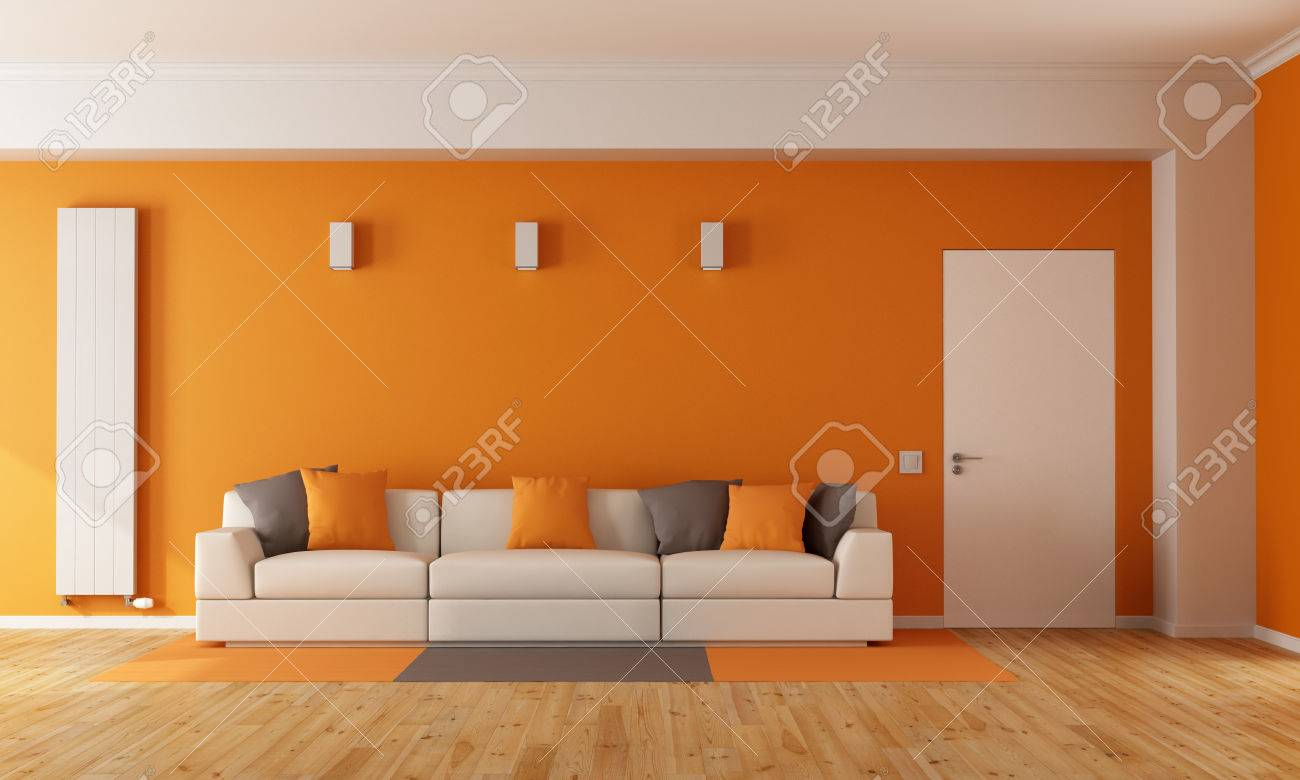 Modern orange living room with white sofa and closed door - 3D..