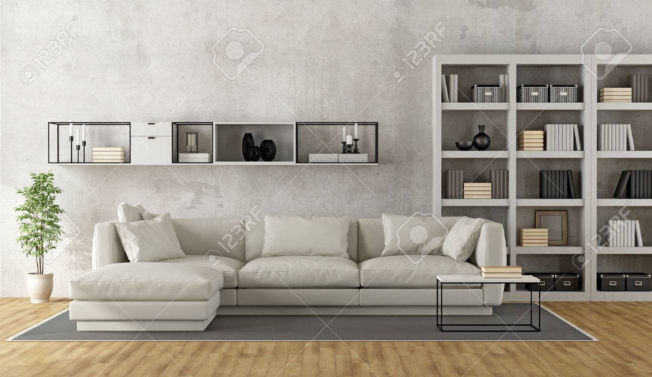 Contemporary white living room with sofa, bookcase and sideboard..