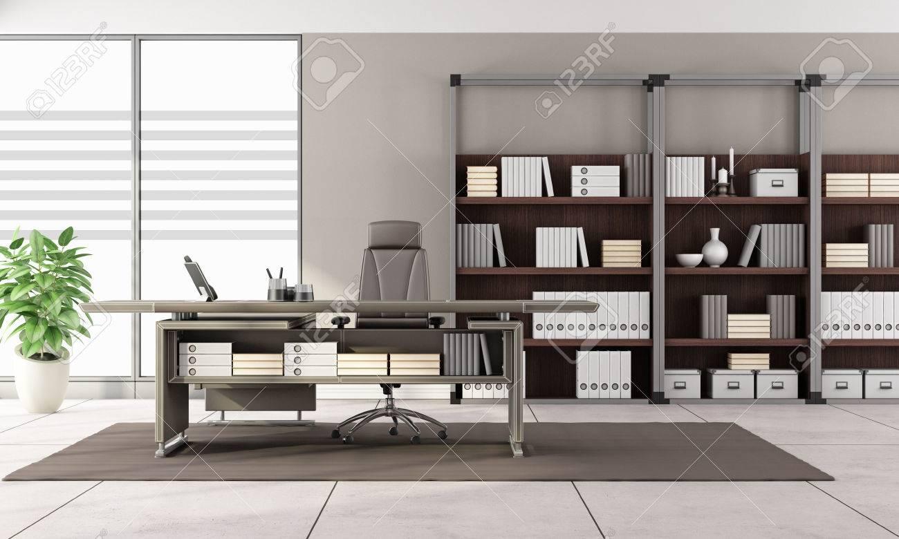 Einzigartig Bücherregal Mit Schreibtisch Foto Von Modernes Büro Leder Und Bücherregal - 3d-rendering