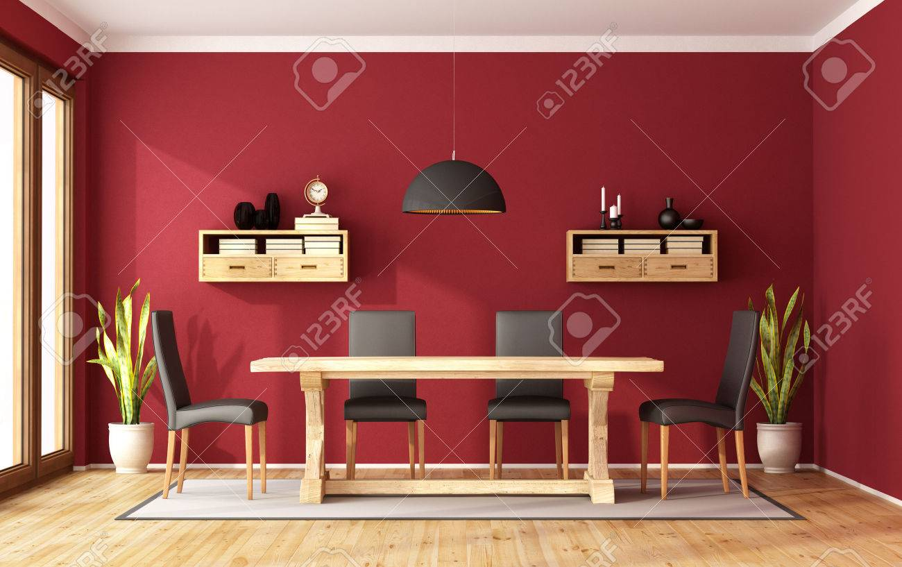 Red Dining Room With Rustic Table And Modern Chair