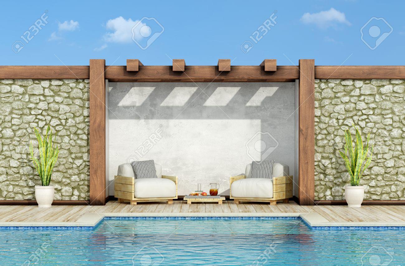 Bien connu Jardin Avec Mur De Pierre, Piscine Et Deux Fauteuil Palette Dans  NY96