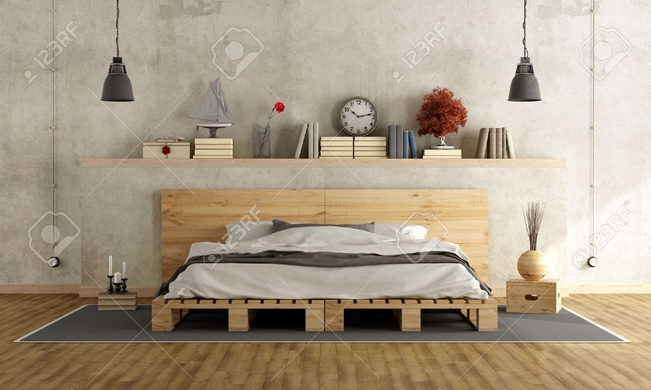 Bedroom With Concrete Wall, Pallett Bed And Vintage Objects On ...