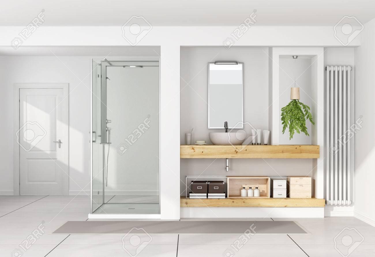 modernes weißes badezimmer mit waschbecken auf holzregal und dusche