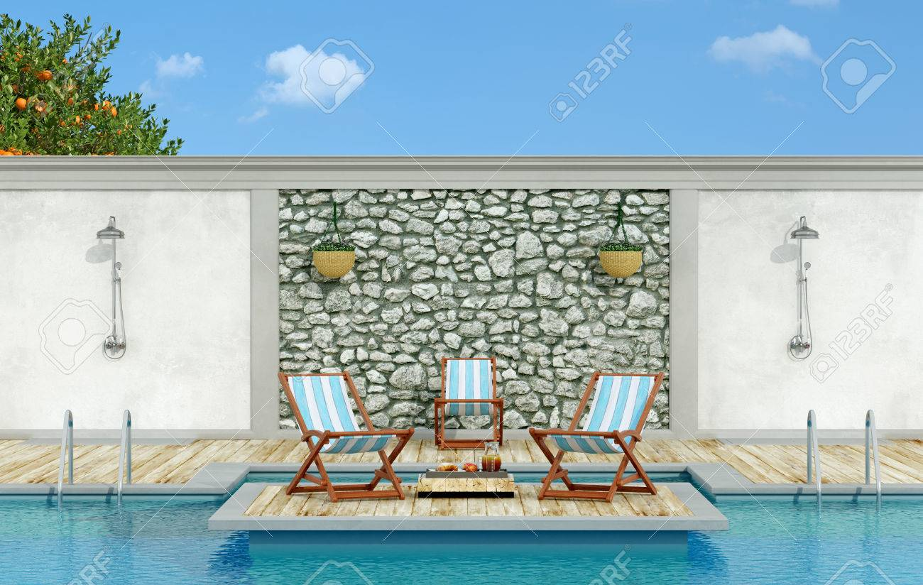 Garden with stone wall, swimming pool,deck chair and shower in a sunny day - 3d Rendering - 54278364