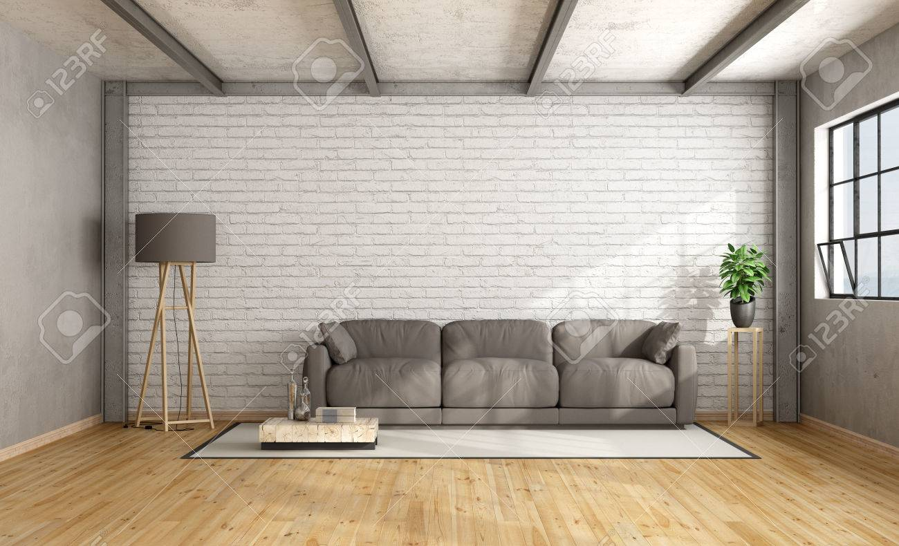 Loft Interior With White Brick Wall And Brown Sofa - 3D Rendering ...