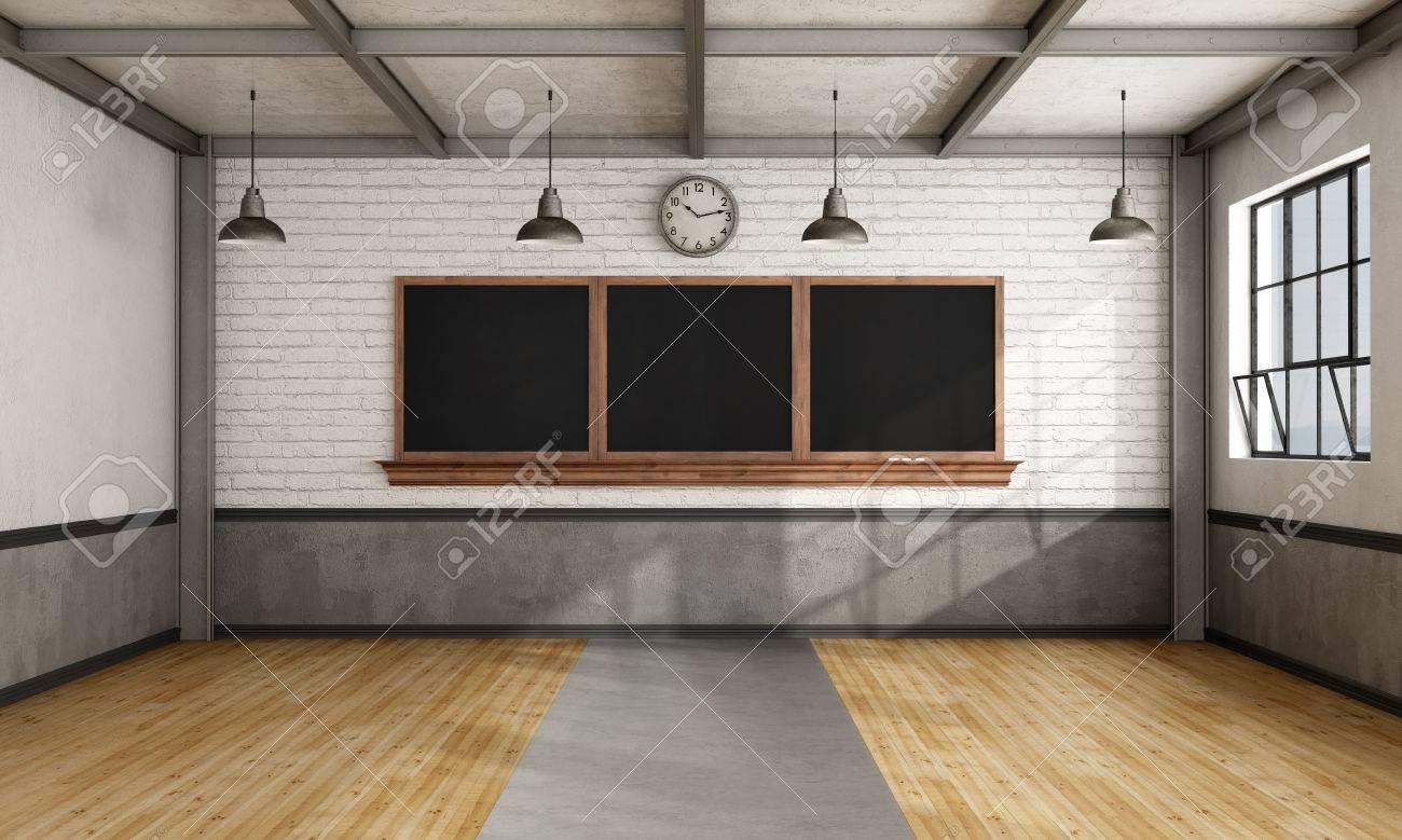 Empty retro classroom with blackboard on brick wall - 3D Rendering - 54278366