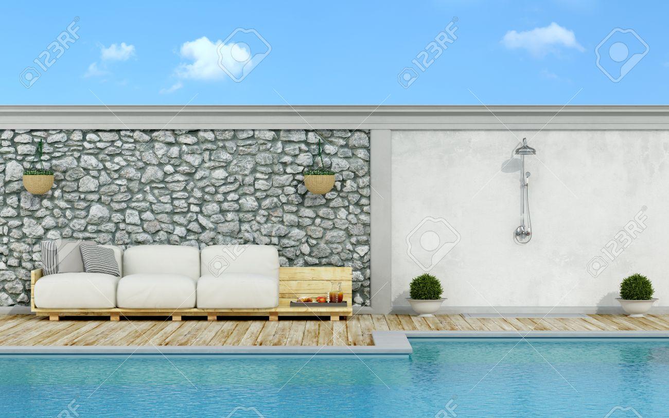 Super Jardin Avec Mur De Pierre, Piscine, Palette Canapé Et Douche Dans  MG08