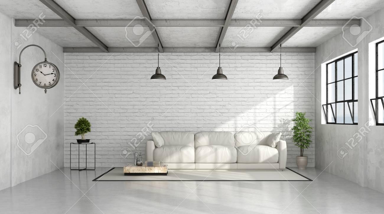 Banque Du0027images   Loft Intérieur Avec Mur De Briques Blanches Et Un Canapé  Blanc   Rendu 3D