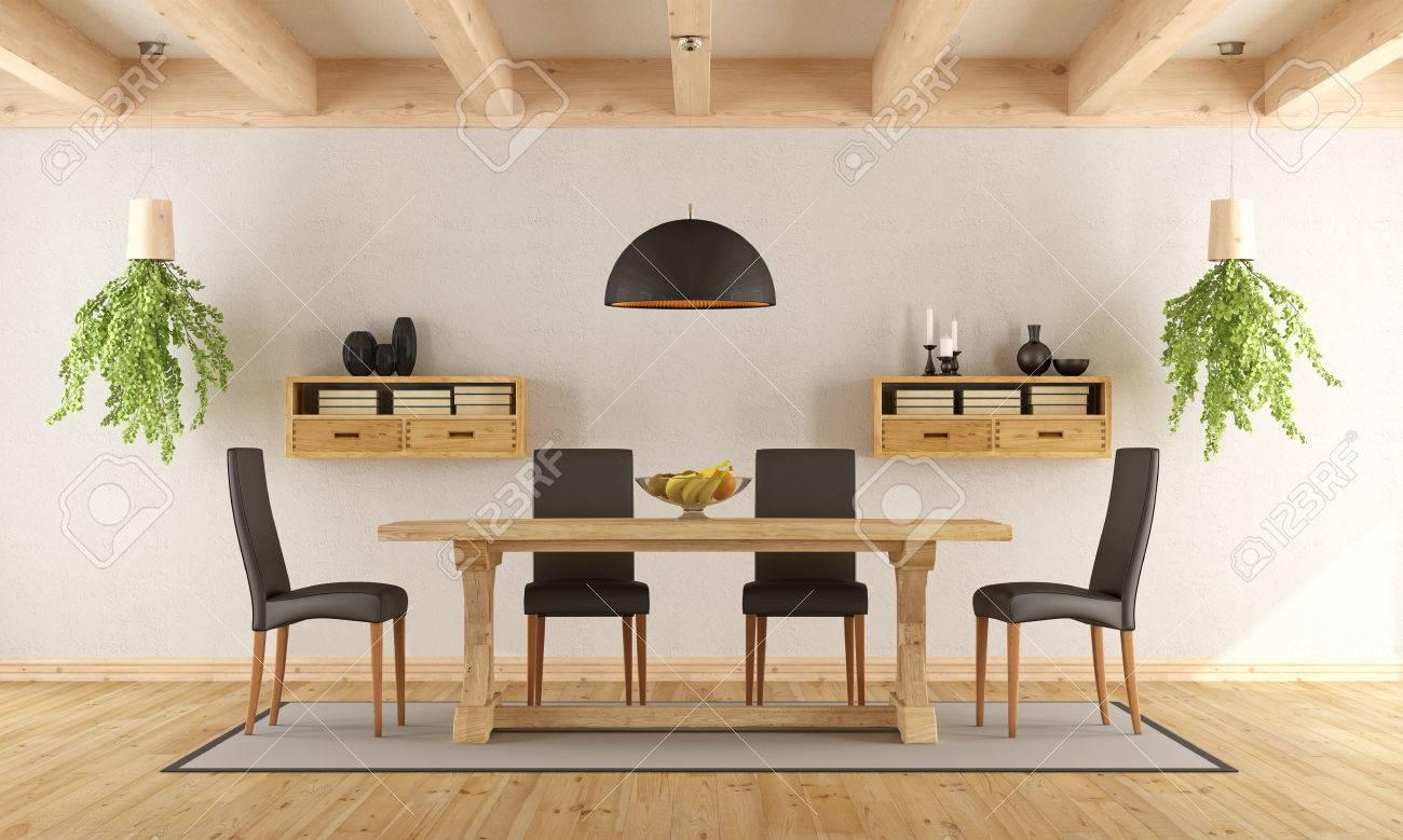 Blanc Salle Manger Avec Table Rustique Et Chaise Moderne
