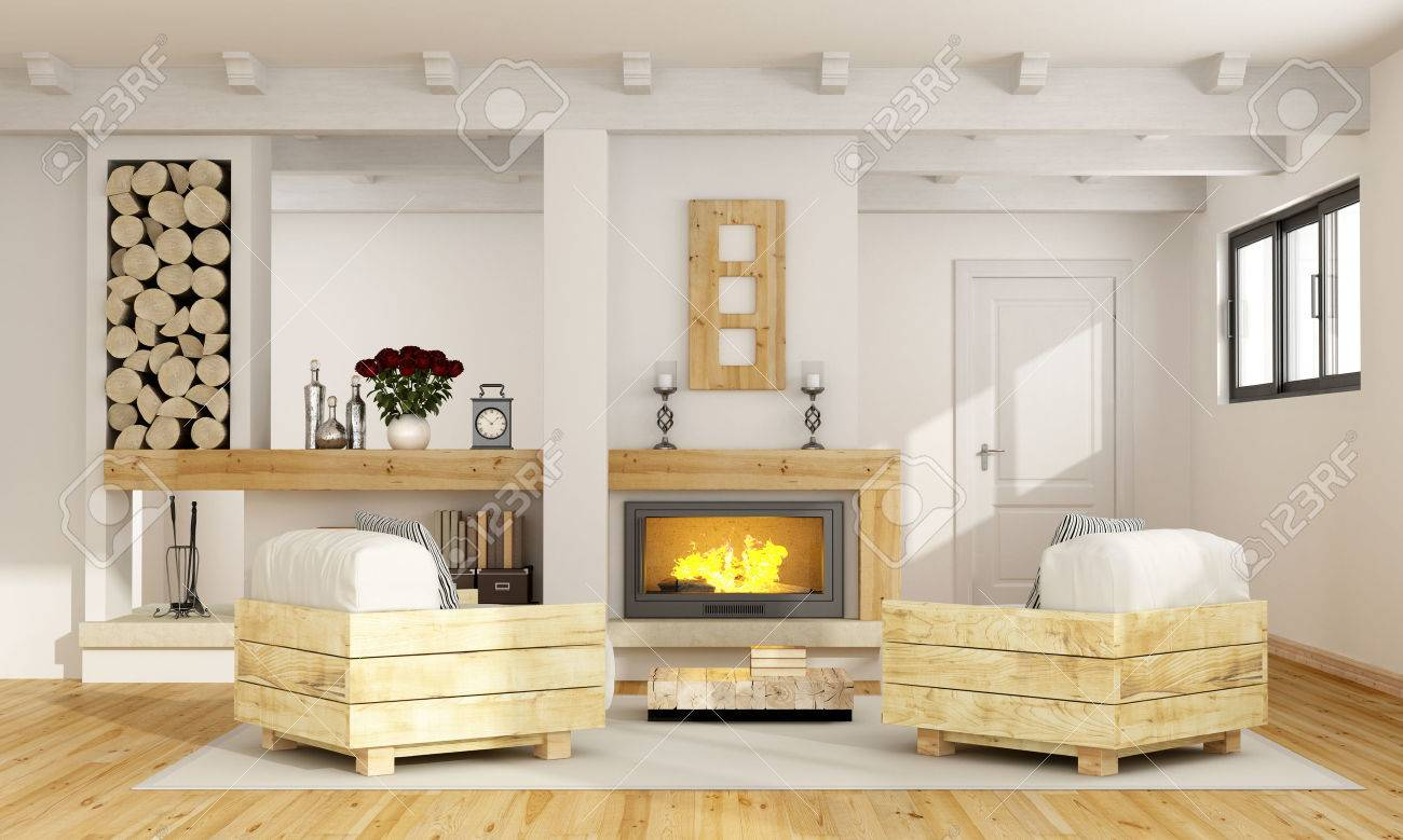 Rustic Room With Fireplace And Two Pallet Armchair
