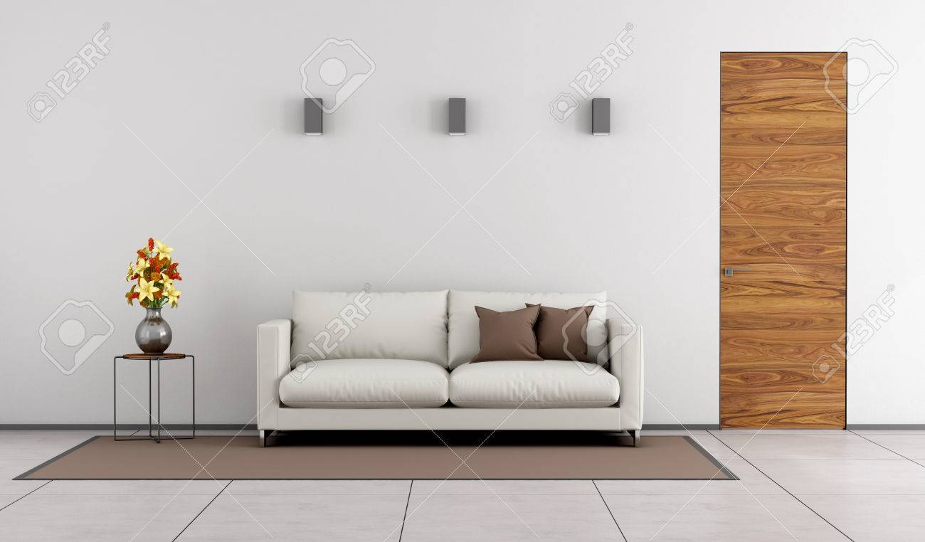 Minimalist Living Room With Wooden Door And White Sofa On Carpet   3D  Rendering Stock Photo