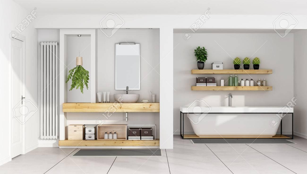 Salle de bain blanche contemporaine avec évier sur le plateau et une  baignoire en bois - Rendu 3D
