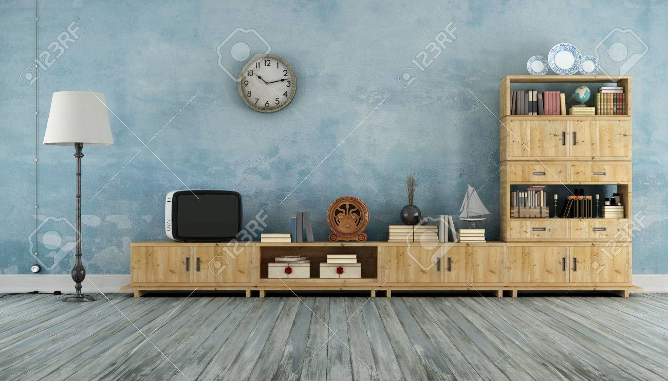 Stock Photo   Vintage Living Room With Wooden Wall Unit And Small  Television   3D Rendering