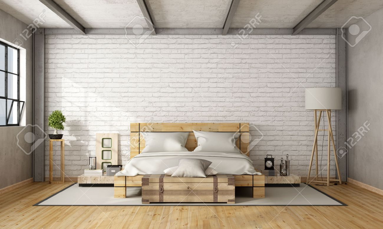 Wooden double bed in loft with brick wall and iron beams - 3D Rendering Standard-Bild - 54278384