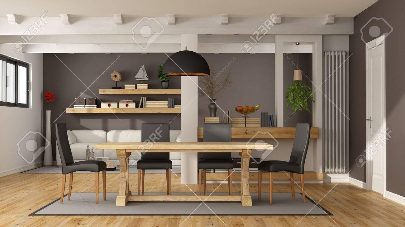 Standard Bild   Weiß Und Braun Wohnzimmer Mit Esstisch Aus Holz Und  Modernes Sofa   3D Rendering
