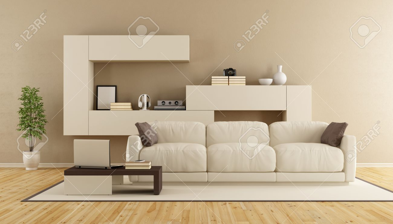 minimalist living room furniture. Minimalist Living Room With Modern Sofa And Wall Unit - 3d Rendering Stock Photo 54278401 Furniture I