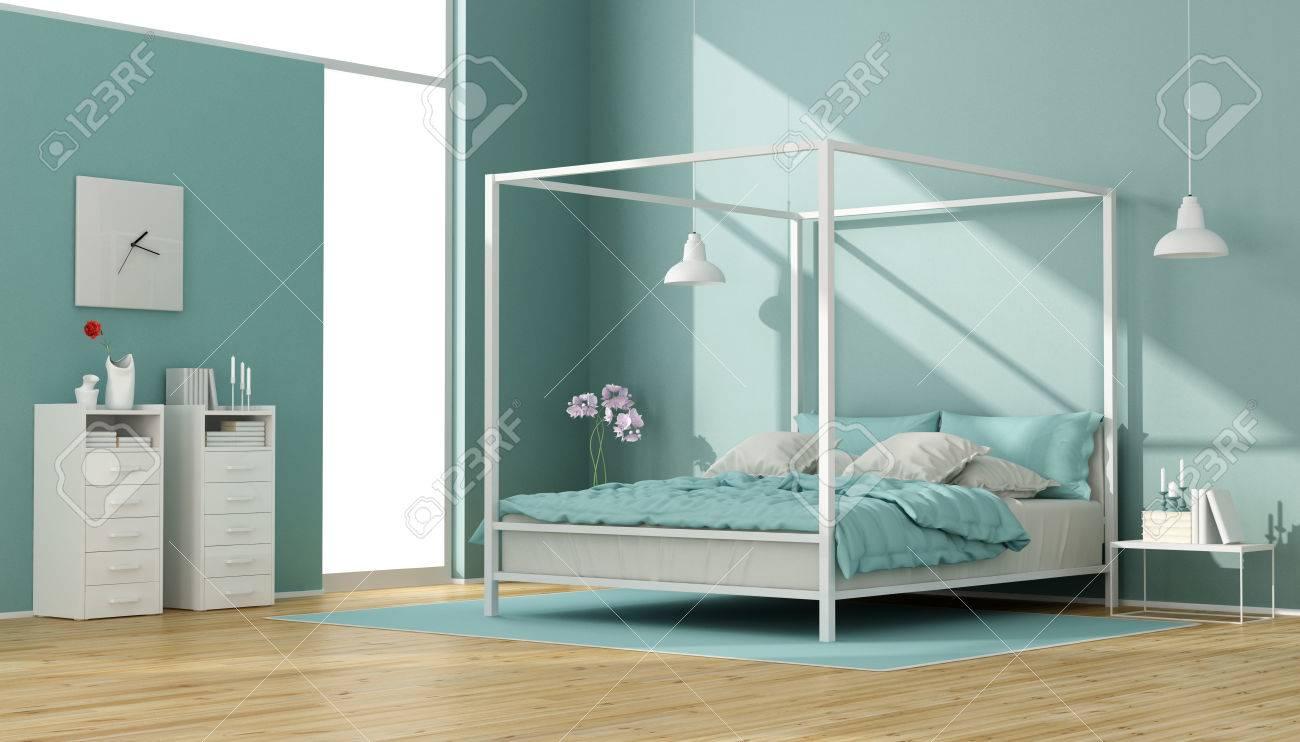 Blaue Und Weisse Schlafzimmer Mit Minimalistischem Himmelbett Und