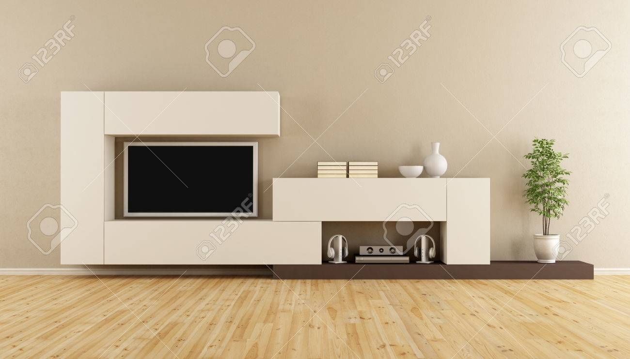 Livingroom with wall unit and television set - 3D Rendering Standard-Bild - 54278430