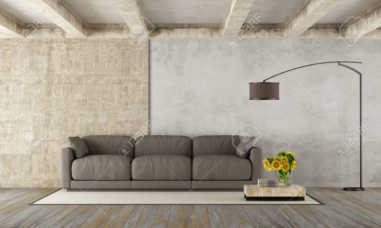 Grunge Room With Modern Brown Couch,concrete Beams And Dirty.. Stock ...
