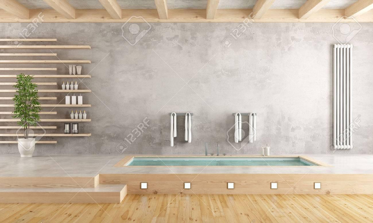 Minimalist Bathroom With Sunken Bathtub On Cement Platform   3D Rendering  Stock Photo   55875092
