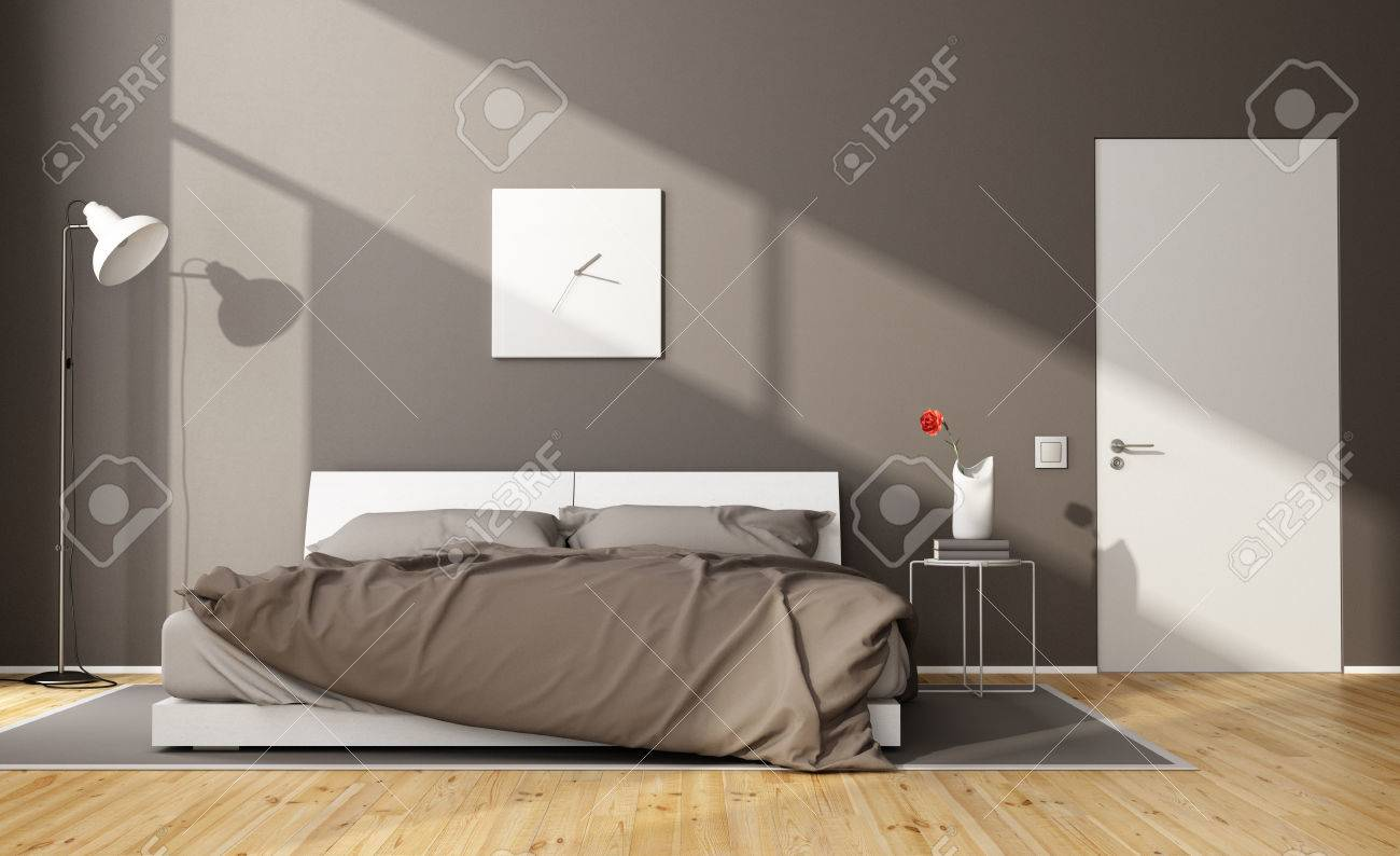 Brown modern bedroom with white double bed and closed door - 3D Rendering - 55875103