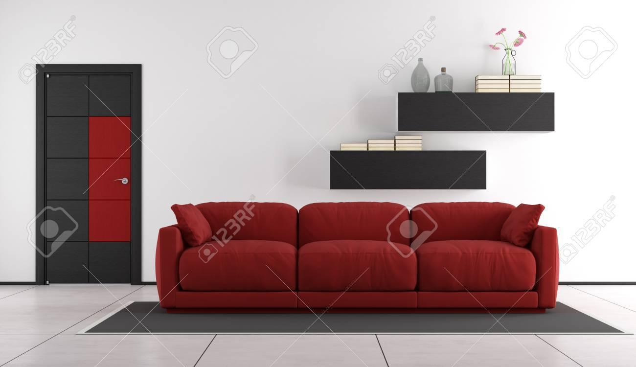 Moderne Wohnzimmer Mit Roten Couch Und Geschlossene Tür - 3D ...