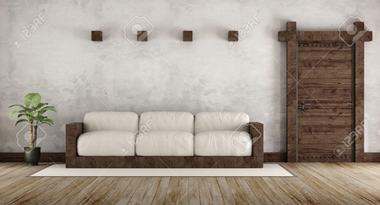 banque dimages sjour dans un style rustique avec un canap en bois et vieille porte en bois 3d rendering - Canape Rustique