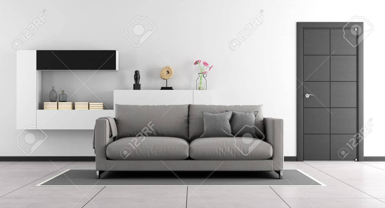 Black And White Living Room With Sofa,wall Unit And Closed Door ...