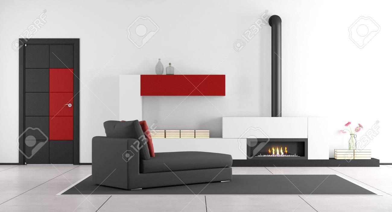 Salon contemporain avec cheminée, salon de chaise et porte fermée - rendu 3d
