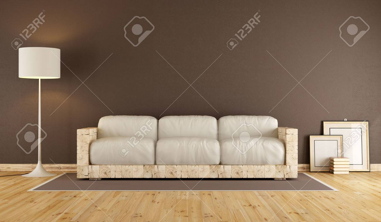 Brown Living Room With Old Wooden Sofa And White Cushion 3d Stock Photo Picture And Royalty Free Image Image 55875118