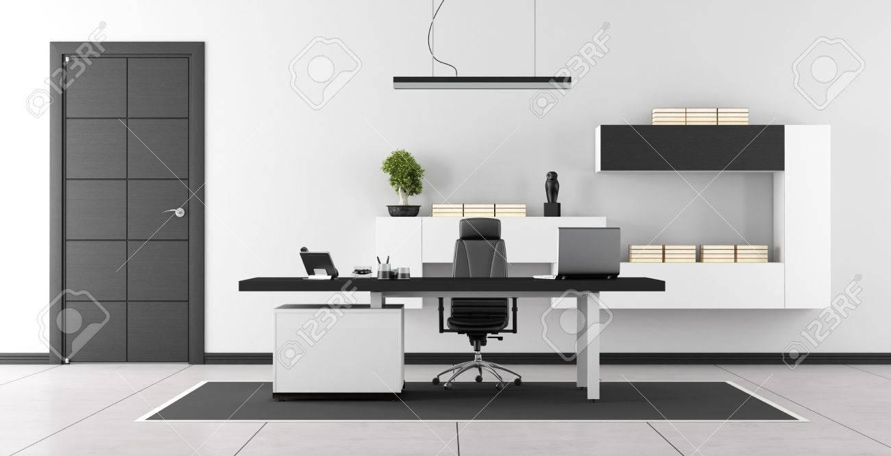 Bureau moderne en noir et blanc avec la porte fermée et unité