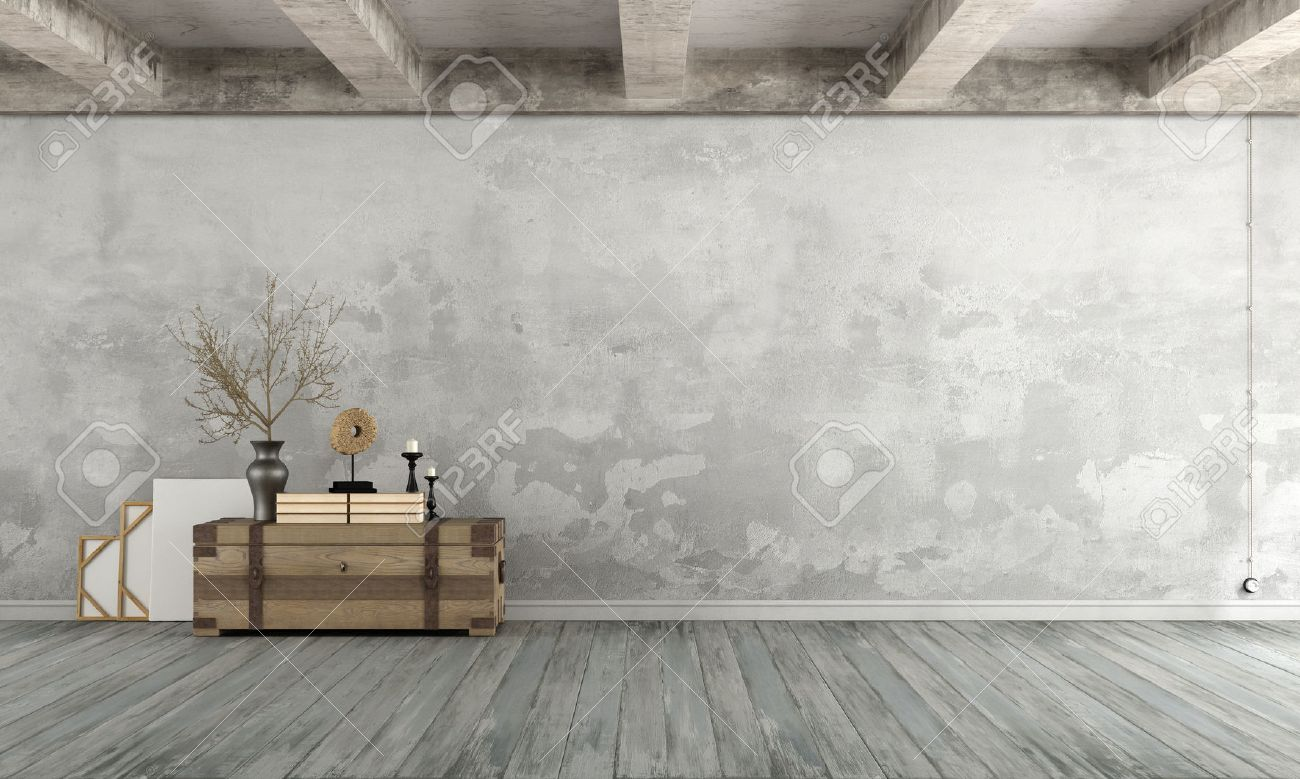 Grunge Living room with old wall ,wooden chest on floor and concrete beams - 3d Rendering - 55875128