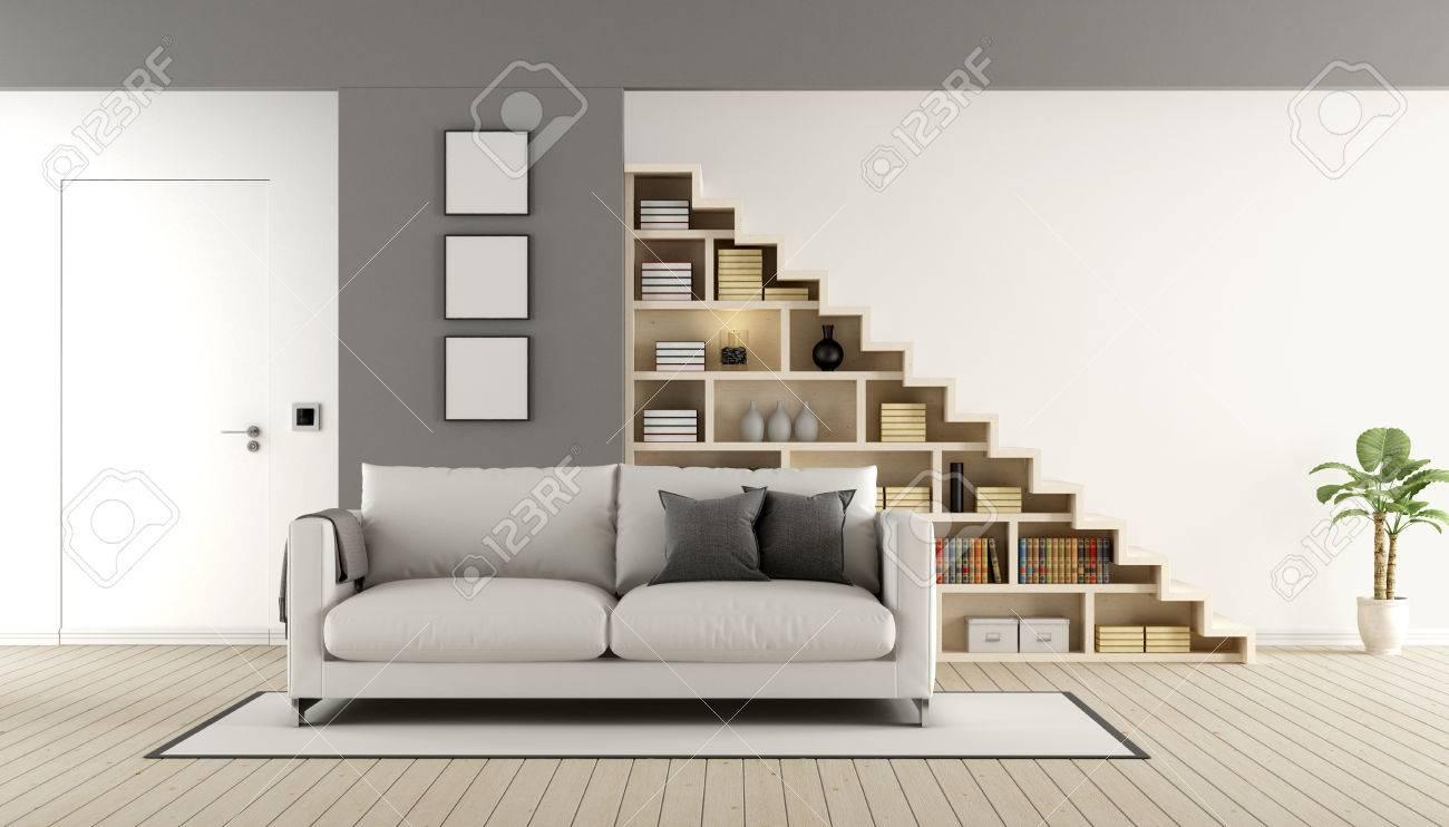 Salon Contemporain Avec Escalier En Bois, Un Canapé Et Porte Fermée ...