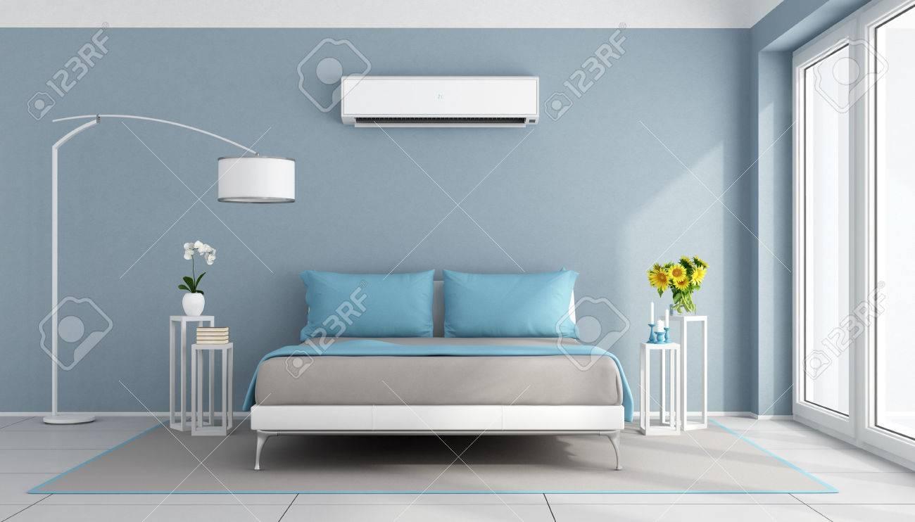 Blaue Zeitgenössische Schlafzimmer Mit Klimaanlage - 3D-Rendering ...