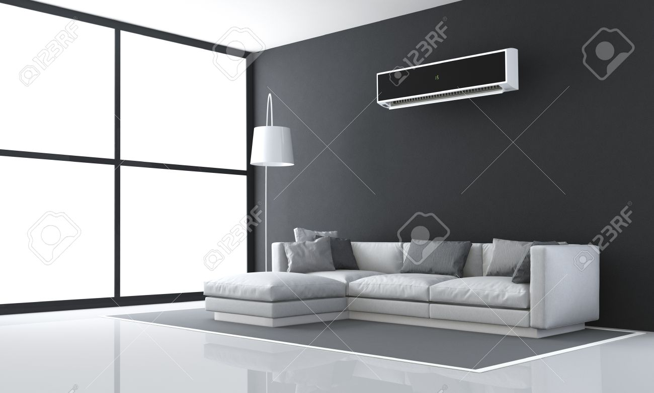 Minimalist Black And White Living Room With Sofa And Air Conditioner   3d  Rendering Stock Photo