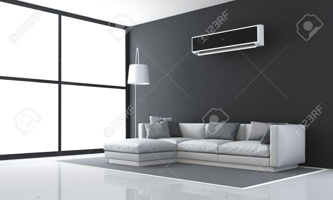 Minimalist Schwarz Und Wei Wohnzimmer Mit Sofa Und Klimaanlage Drendering