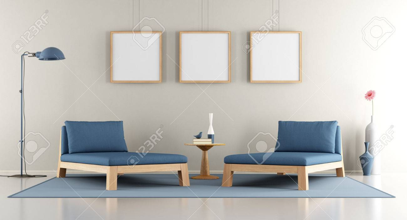 Meridienne Moderne Pour Salon salon moderne avec méridienne bleu. cadre vide et la lampe contemporaine -  rendu 3d