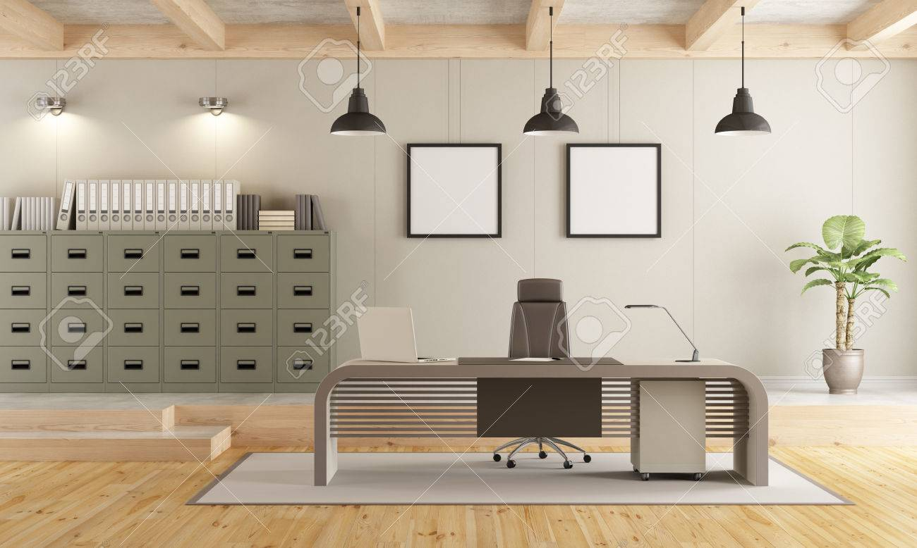 Two Levels Contemporary Office With Filing Cabinet Modern Desk
