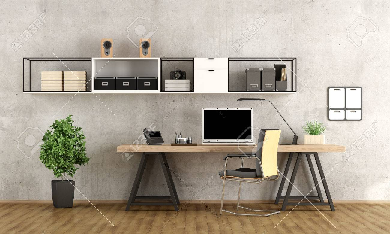 Contemporary home office with laptop on minimalist desk - 3d rendering - 56096769