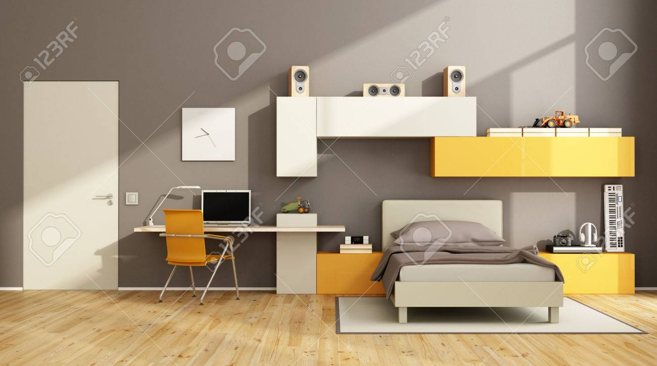 Pleasing Brown And Orange Teenage Boy Bedroom With Desk Laptop And Wall Home Interior And Landscaping Ferensignezvosmurscom